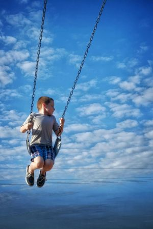 Victor was very proud that he gets to go to the big kids playground this year instead of the pre-k playground. School Kindergarten Sky And Clouds Swings Having Fun Color Photography EyeEm Best Shots Check This Out Bkue Sky Look Up Silencevsnoise