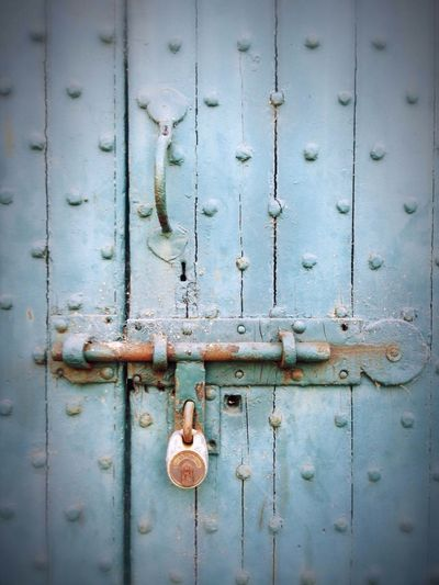 Close-up of rusty wooden door
