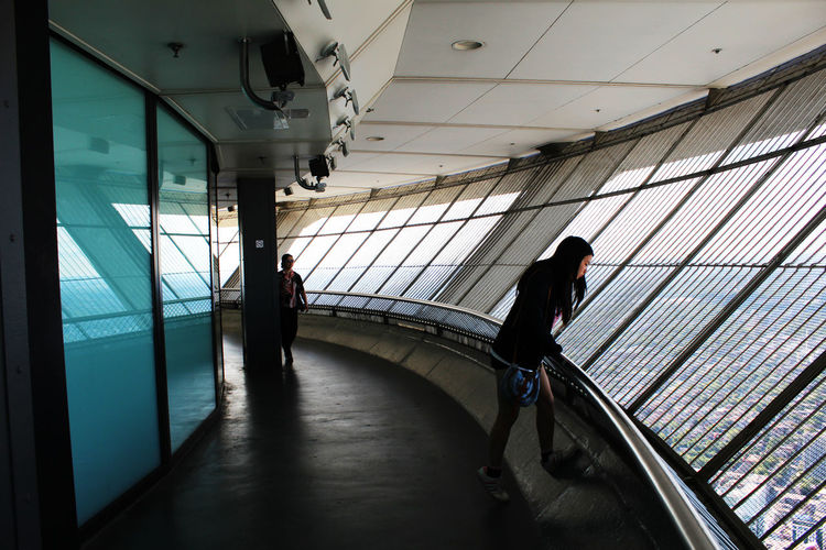 Woman standing in cn tower