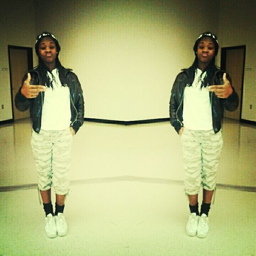 Swagged Out . ! #camo Pants #white Shirt #white Adidas #black Socks #black Beanie #lil D!
