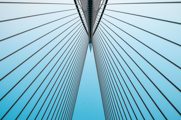 Architecture Lines And Angles Abstract Background Bridge Cables Connection Day LINE Low Angle View Minimalism No People Pattern Sky Suspension Bridge Upside Down The Week On EyeEm The Graphic City