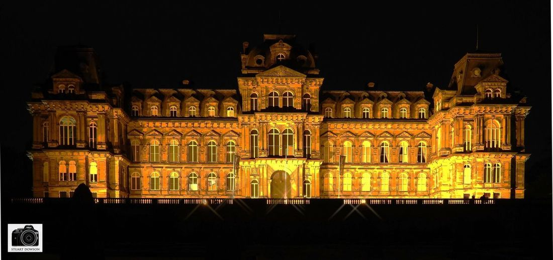 Bowes Museum by night. Architecture Built Structure Night Building Exterior Illuminated Low Angle View