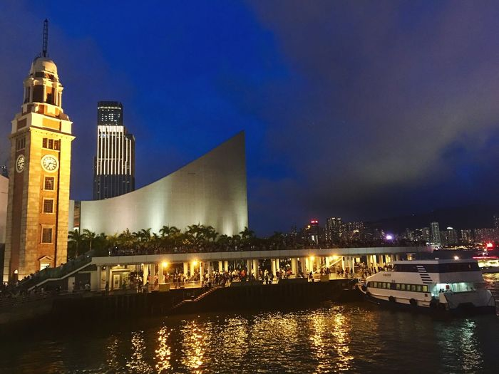 Tsim Sha Tsui harbour at night Building Exterior Built Structure Architecture Night Water Illuminated Sky City Building Travel Destinations Transportation Tower No People Reflection Nautical Vessel Travel HUAWEI Photo Award: After Dark