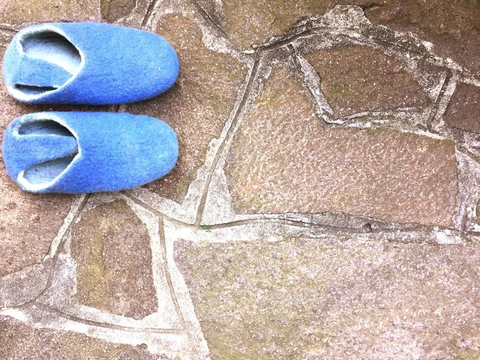 blue felt slippers No People High Angle View Day Blue Outdoors Paved Path Slippers Felt Walkway Shoes Top Perspective Top View Close-up