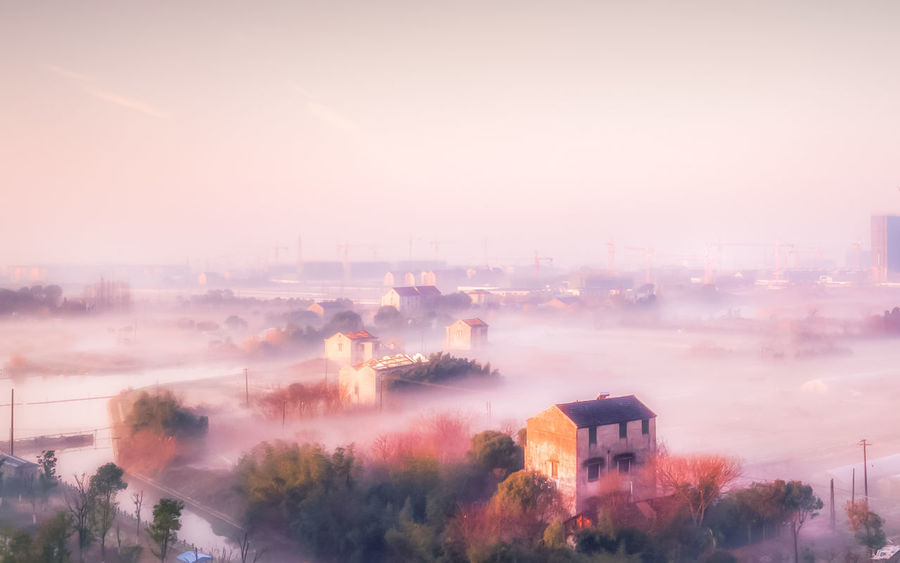 Tree Fog Sky No People Outdoors Landscape Nature Architecture Jiashan Zhejiang Province Morning Mist Smoke