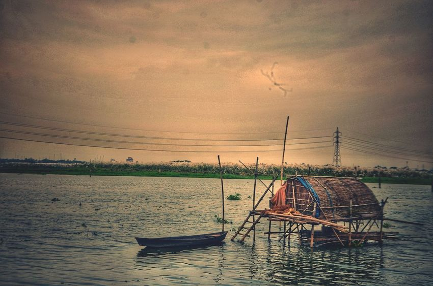Sunset Water Fishing Net Landscape Diffrent View Nature Strom Clouds Rural Scene Reflection Diffrent Look