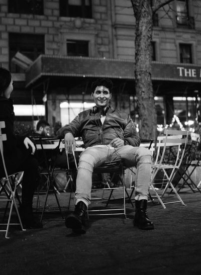 Casual Clothing City Life Friendship Full Length Fun Happy Herald Square Leisure Activity Lifestyles Man Men Midtown New York City Night NYC Park Real People Romance Sitting Smile Streetphotography Talking Pictures