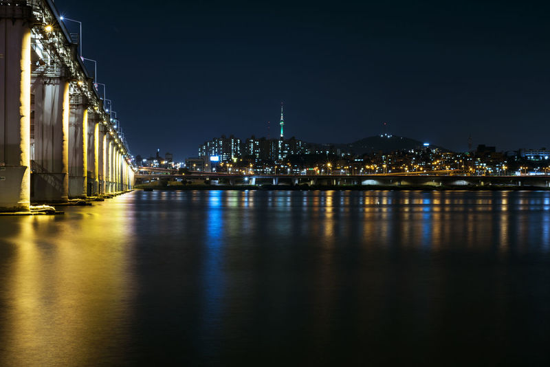 Banpo Bridge Landscape Lights Long Exposure Nightphotography Rainbow Of Lights