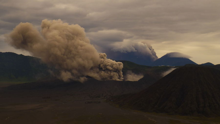 View Of Mt Bromo Against Cloudy Sky