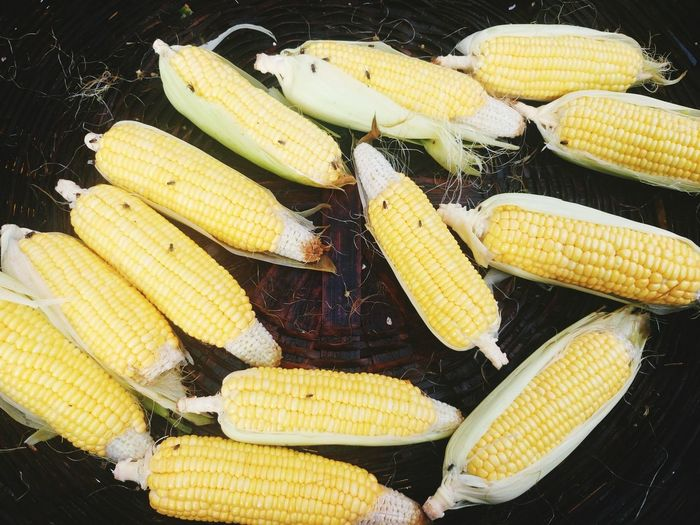 High Angle View Of Corn On The Cob In Basket At Market For Sale