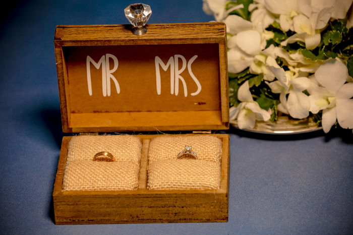 the wedding rings in the wooden box with Mr. and Mrs words Wedding Wedding Photography Close-up Communication Day Flower Indoors  No People Ring Rings Table Text Wedding Ceremony Wedding Day Wedding Ring Wedding Rings