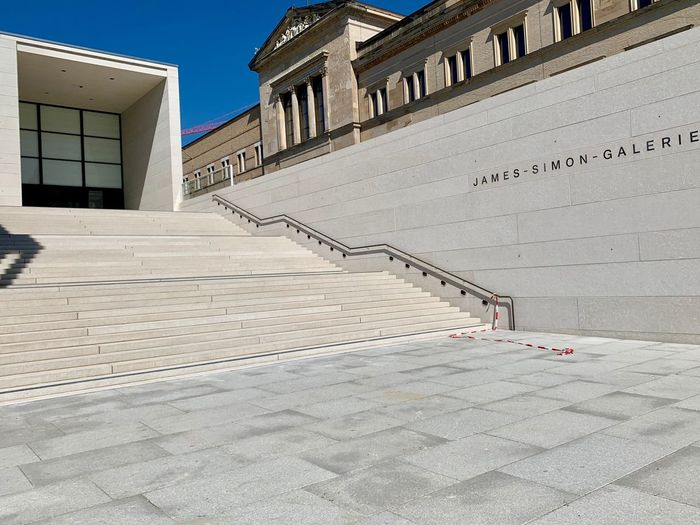 James Simon Galerie Architecture Built Structure Building Exterior Day No People Building Nature Outdoors Sunlight Staircase Safety Wall Railing Security City Sky Transportation Travel Destinations Wall - Building Feature Clear Sky