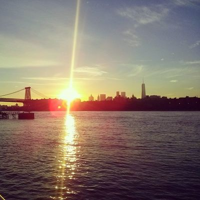 View of the sunset from the Williamsburg waterfront..