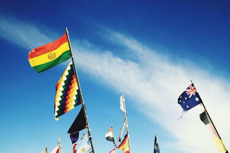 Sunny Day Bolivia Flags Uyuni Salt Flat