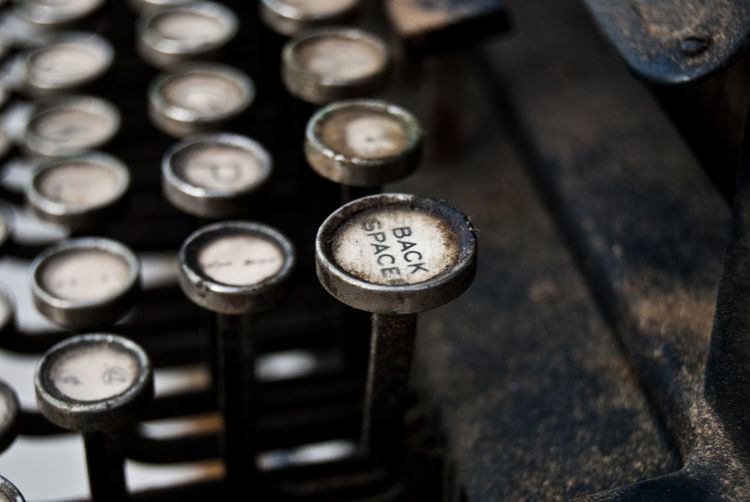 Cropped image of antique typewriter