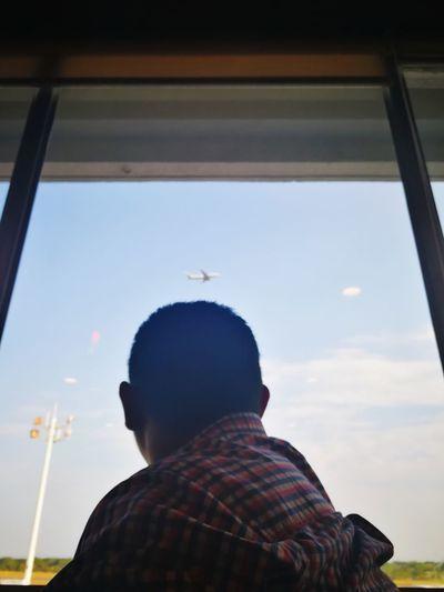 Warm Clothing Rear View Headshot Looking Through Window Journey Sky