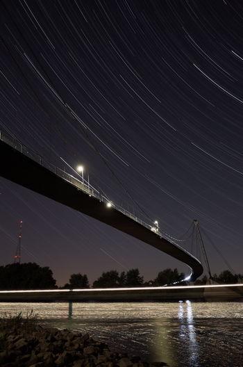 Bridge Herrenkrug Magdeburg Nightphotography Ricoh Gr Saxony Anhalt Startrails Nature Night Lighttrails Time Long Exposure Germany Silence star Star Emptiness Elbe Startrailphotography Startrail