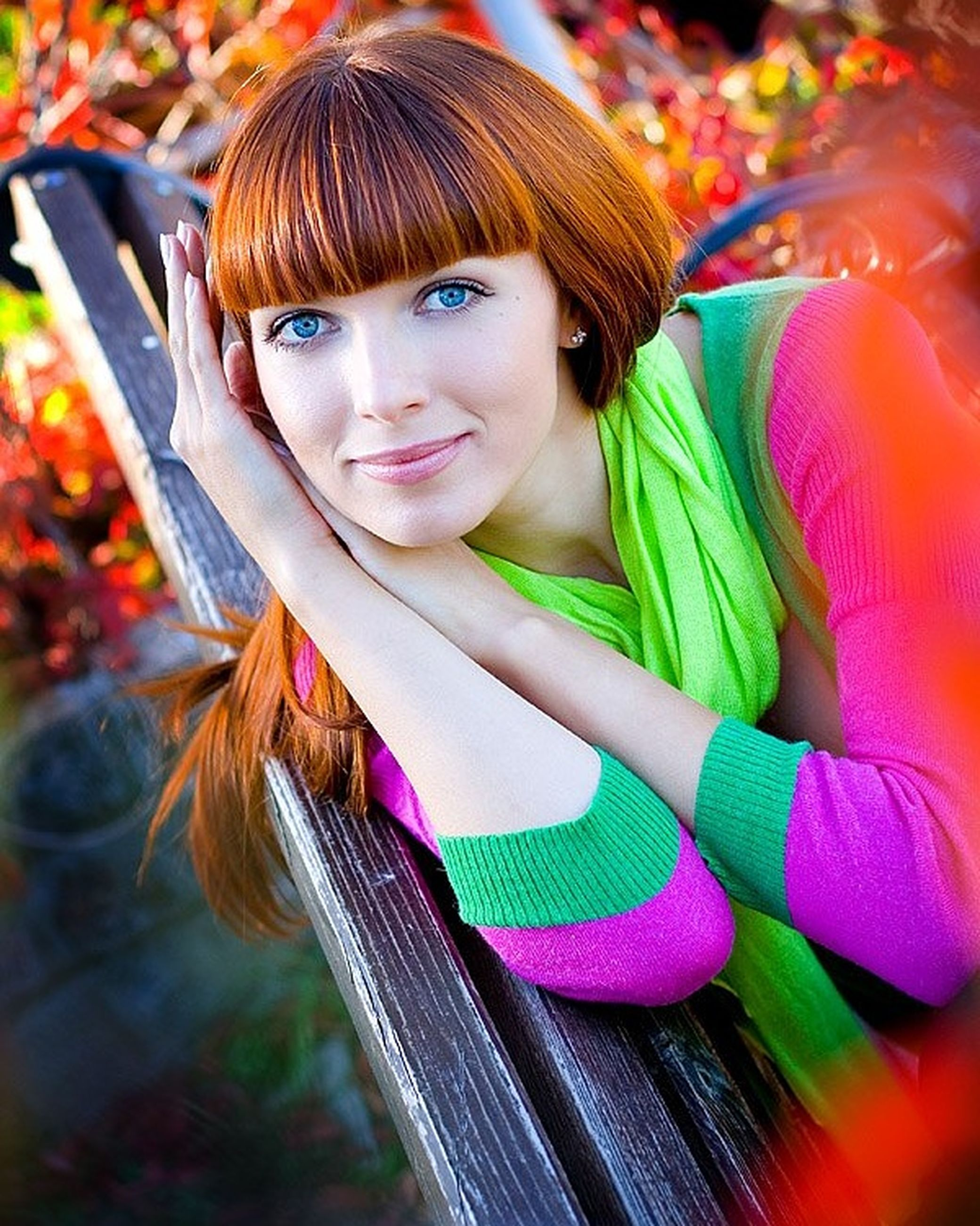 only women, redhead, portrait, one woman only, beautiful people, smiling, bangs, happiness, beauty, young adult, beautiful woman, one young woman only, looking at camera, adult, young women, women, adults only, cheerful, people, one person, multi colored, females, close-up, outdoors, dyed hair, day