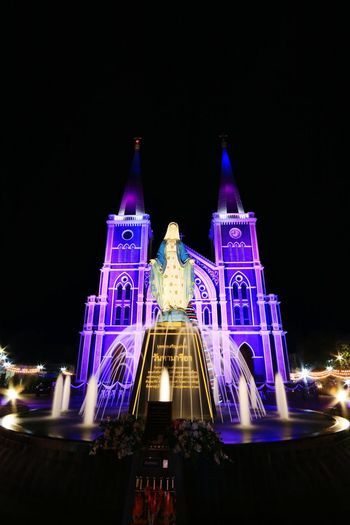 Evening Building Lights Chistmas Festival Landmark