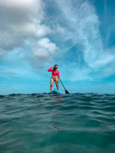 Beach Ocean Water Sport Summer Caribbean Paddleboarding Water Sea Real People Cloud - Sky Sky Lifestyles Leisure Activity One Person Scenics - Nature Outdoors Standing
