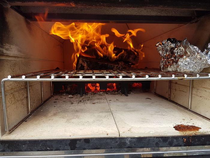 Fire Illuminated Multi Colored No People Piza Piza Oven Pizzaoven