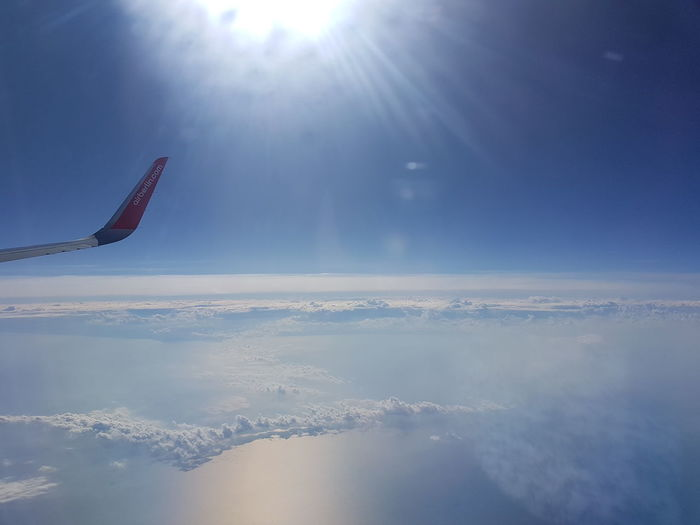 In A Airplane The Earth Below Horizon Over Land Clouds And Sky Tranquility Sea And Clouds
