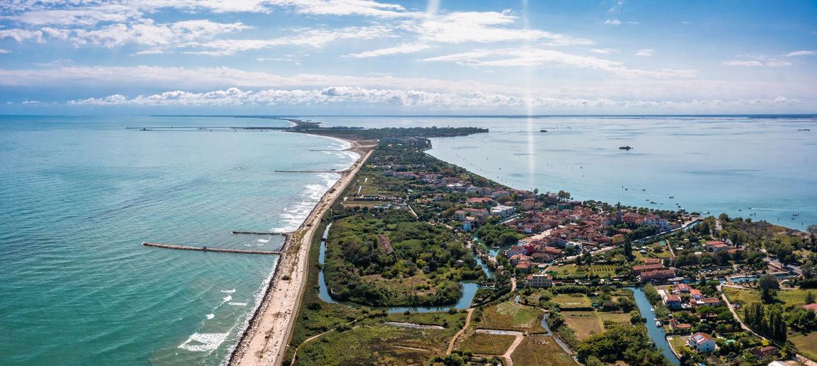 Aerial view of the lido de venezia island in venice, italy.