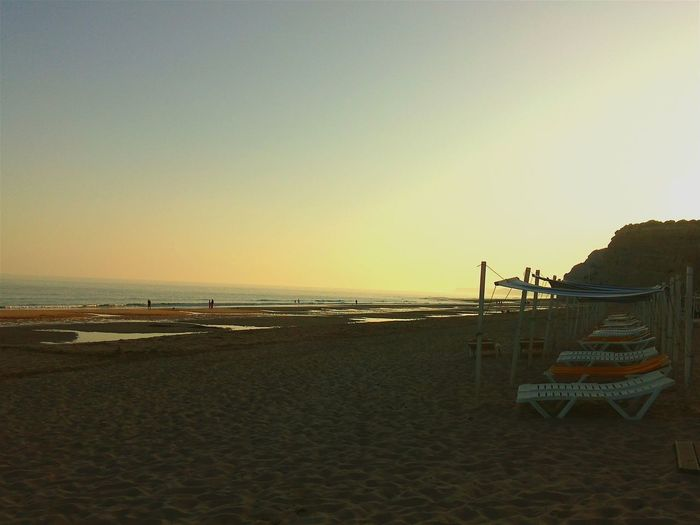 Beach Sunset Portugal Algarve Porto De Mos Praia