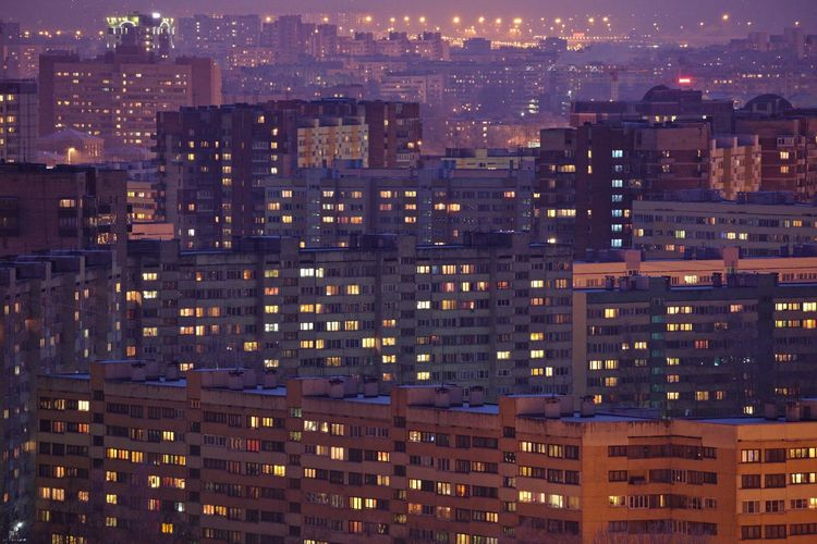 Kirovsky District, view from above. Architecture Building Building Exterior City Dormitory Human Settlement Modern Night Night Lights Outdoors Pattern Pattern Pieces Perspective Saint Petersburg Sleeping Quarters Top Perspective Twilight Urban Urban Geometry Ussr Winter
