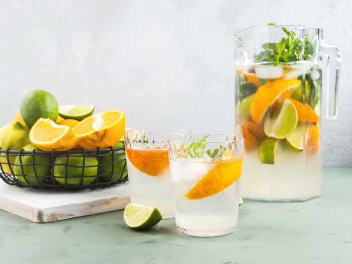 Fruits in glass on table