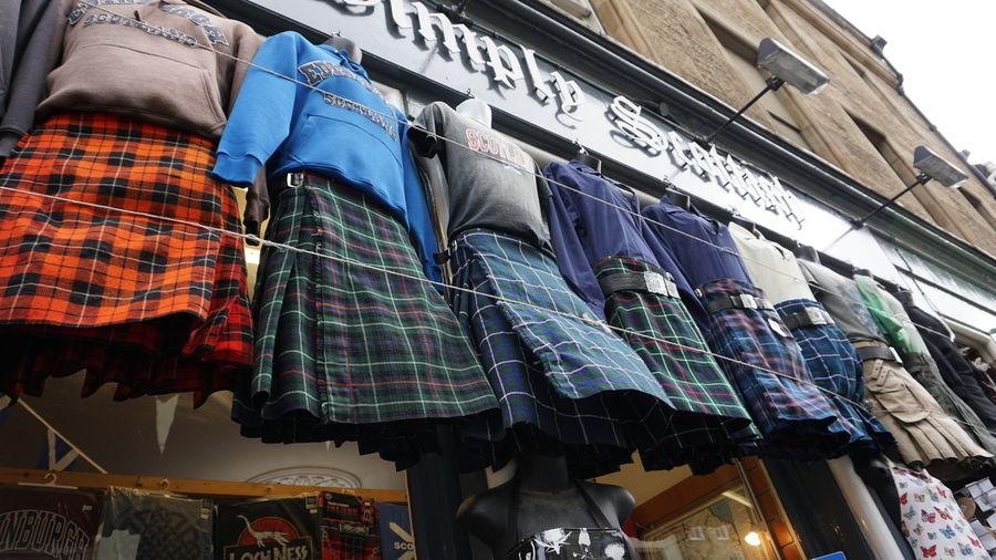 Shops in Edinburgh Building Exterior Clothing Coathanger Day Edimburgh Edimburgo Fashion For Sale Hanging Kilt Low Angle View No People Outdoors Retail  Scotish Scotish Style Store Variation Postcode Postcards This Is Masculinity