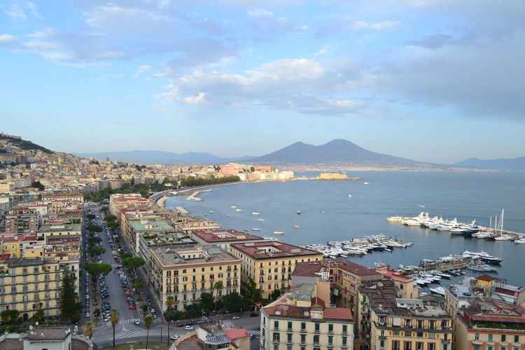 Naples View Architecture Beauty In Nature Building Exterior Built Structure City Cityscape Cloud - Sky Day Harbor High Angle View Mountain Nature Nautical Vessel No People Outdoors Scenics Sea Sky Town Transportation Travel Destinations Vesuvius  Water