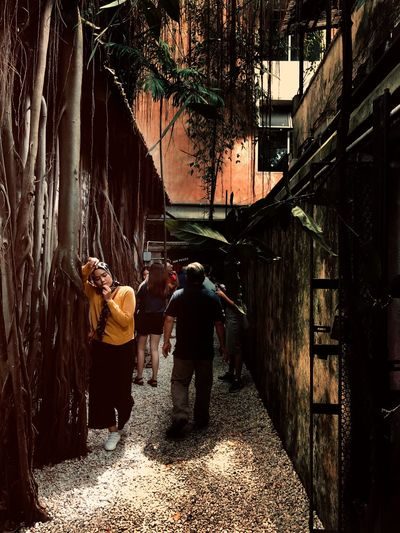 Rear view of people walking on alley amidst buildings in city