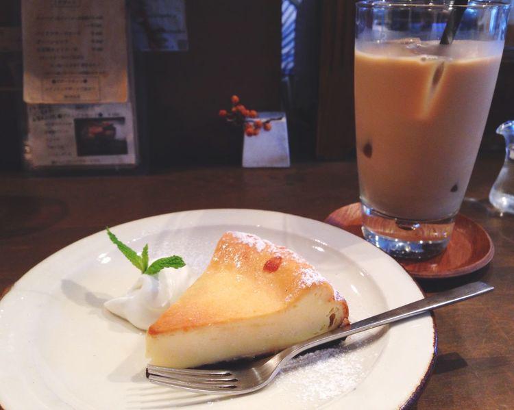 美味しかった😍 EyeEm Best Shots EyeEmBestPics Cheesecake Bakedcheesecake OSAKA Coffee Cafe Cake 阿波座 喫茶 アカリマチ チーズケーキ カフェオレ