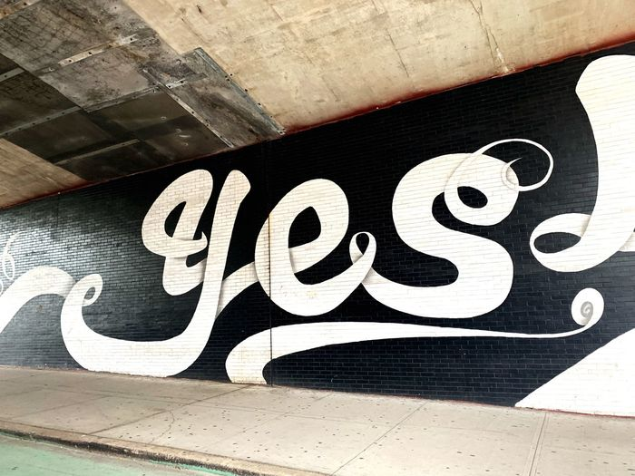 Yes New York Communication No People Architecture Sign Day Built Structure Text Close-up Graffiti Sunlight White Color High Angle View Outdoors