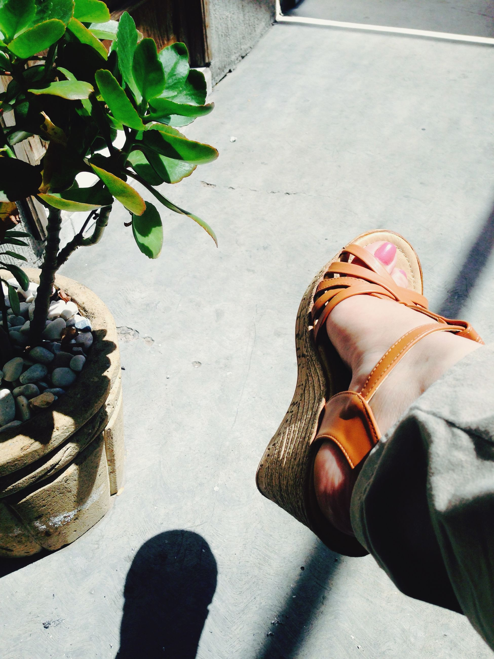 low section, person, shoe, personal perspective, footwear, high angle view, sunlight, shadow, human foot, street, standing, footpath, sidewalk, day, outdoors, close-up, leaf