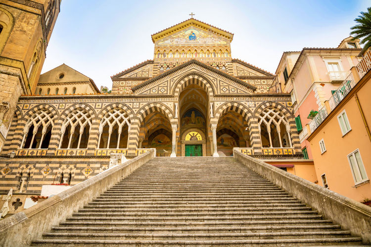 Italy Amalfi  Amalfi Coast Architecture Built Structure Building Exterior Religion Belief Staircase Building Spirituality Low Angle View Place Of Worship No People Façade Travel Destinations Direction The Way Forward Sky Day Arch History Nature Steps And Staircases Outdoors Ornate
