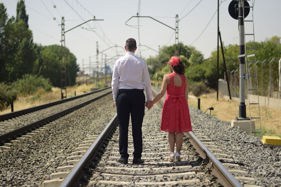 Couple Love Married Day Rail Transportation Railroad Track Real People Togetherness Train Trainway Transportation Two People Young Adult Young Women