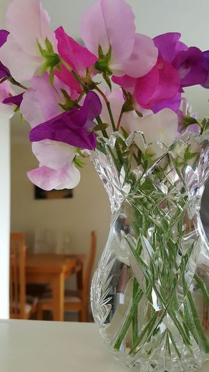 Sweet Peas Flowers Nature Smells Great Crystal Vase Decor Floral Petals My Favourite Pinks And Purples Delicate
