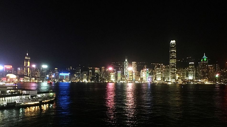 Night City Reflection Built Structure Building Exterior Illuminated Skyscraper Cityscape Waterfront Urban Skyline Victoria Harbour IPhoneography Light And Shadow Hong Kong Moment Lens Moment Wide Victoria Habour City At Night City Lights
