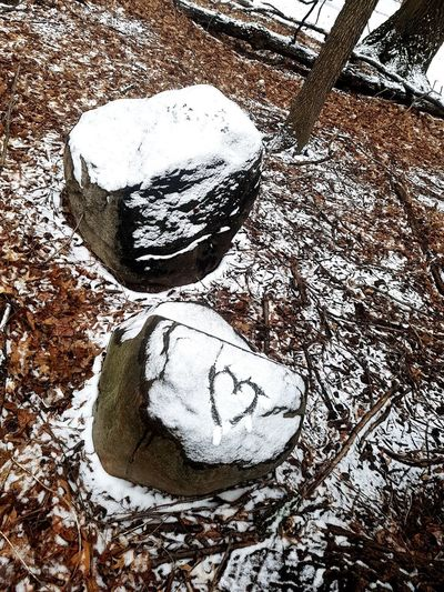 Heart Shape Snow Covered Snow Covered Rocks Backgrounds Communication Full Frame Close-up