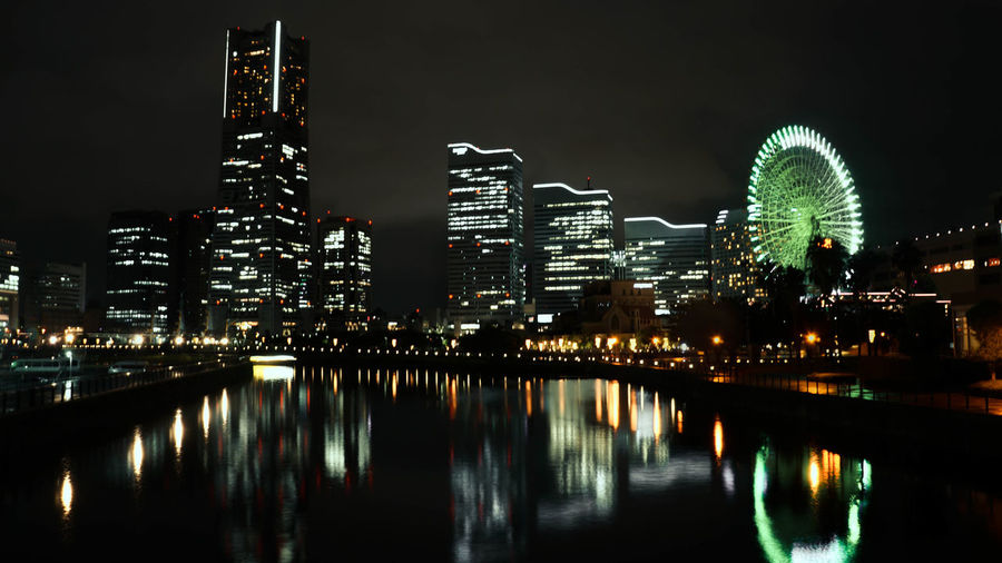 Architecture Building Exterior City City Life Cityscape Cityscape Ferris Wheel Illuminated Japan Modern Neon Lights Night Night Lights Nightphotography No People Outdoors Reflection Sky Skyscraper Travel Urban Skyline Urbanphotography Vacations Water Yokohama