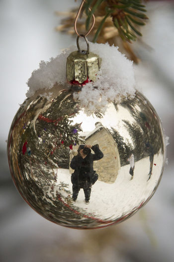 Christmas Christmas Ball Christmas Decorations Christmas Ornaments Close-up Creativity Decoration Focus On Foreground Hanging Indoors  Mirroring Mirroring In A Christmas Ball No People Tree