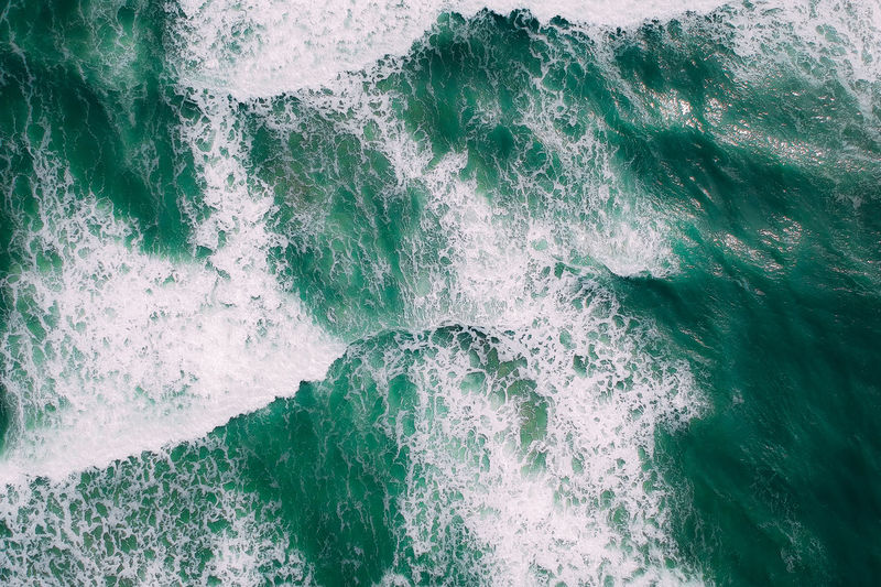 Wave Water Sea Backgrounds Full Frame Wake High Angle View Green Color Close-up