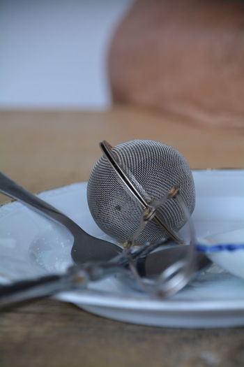Close-up of empty plate and tea strainer