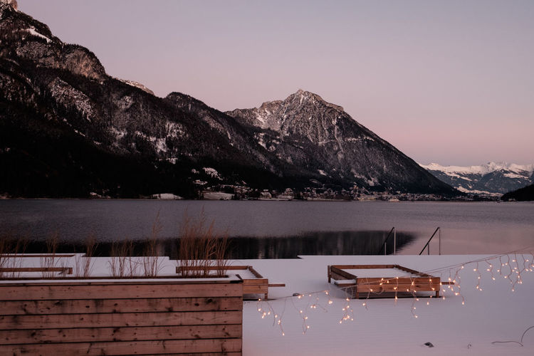 Achensee Achensee Austria Mountain Water Sky Beauty In Nature Scenics - Nature Tranquil Scene Tranquility Nature Mountain Range No People Lake Non-urban Scene Idyllic Sunset Clear Sky Reflection Nautical Vessel Outdoors Cold Temperature