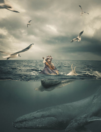 Birds Flying Over Girl With Violin Sitting In Sea Against Sky
