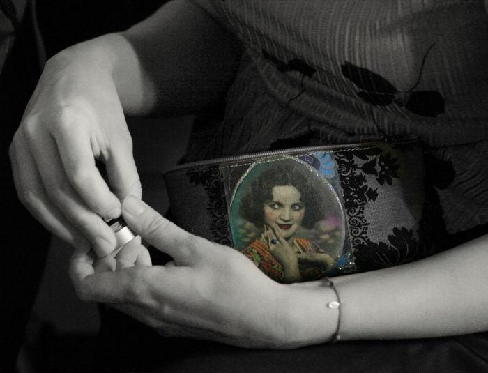 MAKE UP PURSE Hand Representation Makeup Bag Vintage Black And White Close-up Portrait Holding