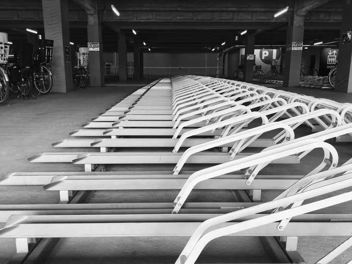 No People Tokyo Tokyo,Japan Cycle Parking Bicycle Station In Line Morning Beautiful Straight Lines Curve Piles Mornings Commuter Japan 東京 自転車置場 ショッピングモール 早朝 クリップ