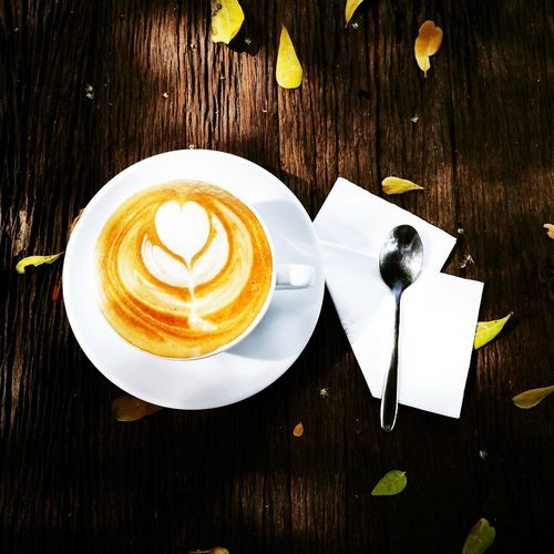 coffee Froth Art Cappuccino Flower Latte Drink Frothy Drink Directly Above Table Coffee - Drink Wood - Material Dessert